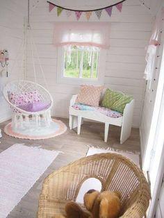 I like the hanging chair - Kids playhouse Inside Playhouse, Playhouse Decor, Playhouse Interior, Build A Playhouse, Playhouse Outdoor, Playhouse Ideas, Playhouse Furniture, Girls Playhouse, Kids Cubby Houses