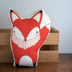 Handmade Fox Pillow, Fox Toy, Stuffed Animal, Baby Toy, Baby Fox Pillow on Etsy, $32.00