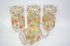 Corelle Indian Summer Tumblers Excellent 14 oz Set of 4 made by Libbey