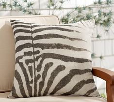 not exactly Moroccan but kind of cool  Outdoor Zebra Print Pillow #potterybarn