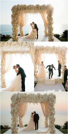 Ivory Flower Wall Arch Ceremony Decor with Champagne Draping @idesignevents #WeddingIdeasRomantic #weddingceremony