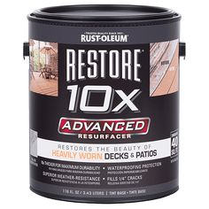 Why repaint when you can revitalize your deck?  The next generation of resurfacing coatings, the new Restore 10X Advanced Resurfacer delivers enhanced durability to extend the life of your deck,  This tough, durable coating is 10 times thicker than ordinary paint, creating a solid yet flexible protective barrier from Mother Nature's harsh elements. A new and improved version of its predecessor,  Restore 10X Advanced  Resurfacer offers superior weather resistance and ultimate water repellency…