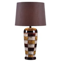 Kenroy Home Lighting Torino Multicolored Squares Table Lamp with Drum Shade at Destination Lighting