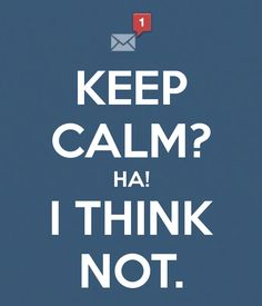 KEEP CALM? HA! I THINK NOT.