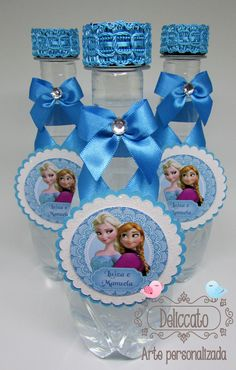Água mineral personalizada para festa Frozen.