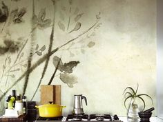 Wallpaper with floral pattern SHOKO WET SYSTEM ™ 15 Collection by Wall