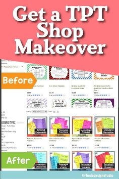 Makeover your TPT shop with new graphics and square covers. No time to create new images for your Teachers Pay Teachers shop? Hire an assistant to redesign your store and help you generate traffic. Teacher Created Resources, Teacher Blogs, Teacher Hacks, Your Teacher, Teacher Pay Teachers, Reading Lessons, Writing Lessons, Math Lessons, Math Intervention