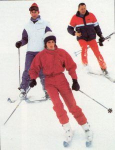 The Princess of Wales bought this raspberry pink all-in-one Head ski suits from Harrods. It has snug, snap-fastened lower sleeves and an asymmetrical front zip closing.She posed for a photocall on January 9, 1984 in Vaduz, Liechtenstein, at the start of her skiing holiday with Prince Charles.