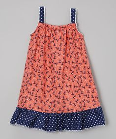 Love this Coral & Navy Anchor Swing Dress - Infant & Toddler by Sweet Summer Baby on #zulily! #zulilyfinds