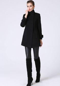 Black wool coat mini coat women coat 1070 by xiaolizi on Etsy