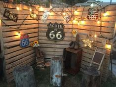 Took a few signs, some industrial lights, a few stumps, cowboy boots and flowers to decorate some pallets. The perfect photo booth backdrop. Country Birthday Party, Cowboy Birthday Party, Birthday Backdrop, Birthday Party Decorations, Fathers Day Photo, Father Photo, Route 66, Photo Booth Backdrop, Photo Backdrops