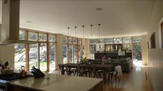 Open plan kitchen, dining, and living space