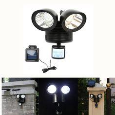 22 LEDs Rotatable Dual Head PIR Motion Sensor Solar Light Garden Yard Wall Security Lamp