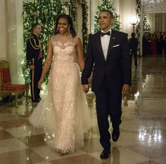 Michelle Obama embraced holiday sparkle in Monique Lhuillier via @stylelist.