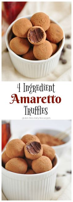 4 Ingredient Amaretto Truffles – Famous Last Words Candy Recipes, Sweet Recipes, Holiday Recipes, Dessert Recipes, Easy Desserts, Delicious Desserts, Yummy Food, Healthy Food, Holiday Baking