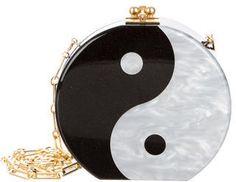 Edie Parker Black Oscar Yin-Yang Acrylic Crossbody Bag