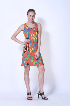 Racer back casual dress. Colorful butterfly pattern, this out fit is great for sunny day.    Design by UDG   www.udgoriginal.com