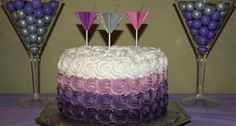 Purple Ombre cake by Janet Martinis Manicures Party Adult Birthday Party Ideas Pretty Cakes, Cute Cakes, Beautiful Cakes, Amazing Cakes, Diy 21st Birthday Cake, Adult Birthday Party, Birthday Favors, Martini Party, Martinis