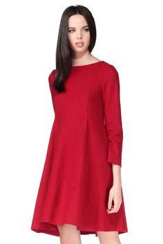 Robe rouge laine Myriam Mi Long, High Neck Dress, Styles, Dresses, Fashion, Dress Red, Wool, Woman, Fashion Styles