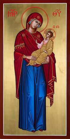 Hand painted gold leafed full figure icon of the Virgin Mary for sale from Monastery Icons