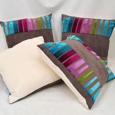 Striped Velvet Luxury Cushions, Pretty Pictures, Bed Pillows, Pillow Cases, Velvet, Handmade Gifts, Fabric, Etsy, Cute Pics