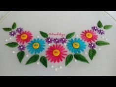 Be welcome to a new hand embroidery tutorial. On today's video, I am going to show you a neckline design with lazy daisy stitch flowers. Hand Embroidery Tutorial, Hand Embroidery Patterns, Embroidery Stitches, Rose Embroidery, Learn Embroidery, Bordado Popular, Bordado Floral, Lazy Daisy Stitch, Popular Crafts