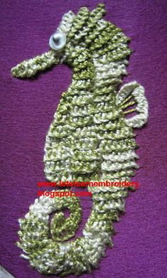 Let's learn embroidery: Underwater scene-seahorse