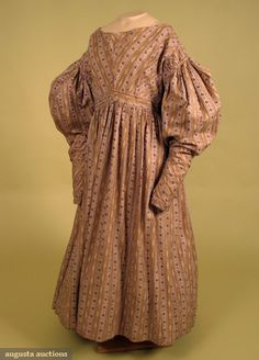 Augusta Auctions, November, 2007 -Tasha Tudor Historic Costume Collection, Lot 206: Brown & Purple Striped Dress, Late 1830s