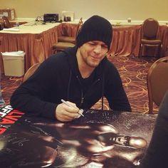 Nick Diaz signing UFC event posters and making funny face. #NickDiaz #UFC #UFC183 #SkrapPack #209 #Stockton #LasVegas #Vegas