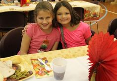 Makayla and Lindsey are having a great time at our Thanksgiving dinner.