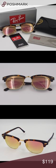 Ray ban clubmaster rose gold sunglasses Ray ban clubmaster rose gold sunglasses Brand new no scratches Return acceptable  100% really and you can check the letters carved on the glasses. Fast shipping Ray-Ban Accessories Sunglasses