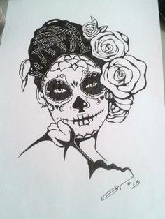 Una novia calavera hermosa, estudo para tattoo.