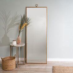 west elm Metal Framed Antique Gold Floor Mirror rnrnSource by jordynaudelo Gold Floor Mirror, Leaning Floor Mirror, Modern Floor Mirrors, Tall Mirror, Mirror Wall Art, Hanging Mirrors, Mirror Bedroom, Standing Mirror, Spiegel Design