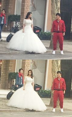 Song Ji Hyo Spotted Filming a Wedding Dress Scene With Chinese ...