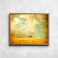 Vintage Red Stag, Downloadable Art, Printable, Wall Art, Digital Download,Instant Downloadble, Colorful Print by LittleOwlArtHouse on Etsy