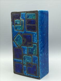 """Bitossi Iwanta ,,Rimini Blue"""" Cubist Tetris rare design. Midcentury Italian Ceramic."""