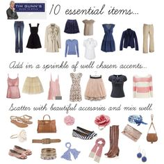 10 essential items, created by susyj on Polyvore..thank you Tim Gunn!