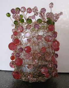 crochet, wire & beads..gorgeous lit at night..