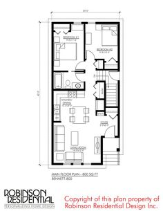 Tudor (with Suite) - Robinson Plans Mini House Plans, 20x30 House Plans, 2bhk House Plan, Guest House Plans, Narrow House Plans, Three Bedroom House Plan, Model House Plan, Simple House Plans, House Layout Plans