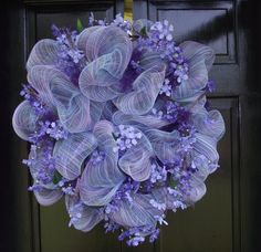 purple mesh wreath - I'm ok - I am just slap happy over making this kind of wreath !!!!