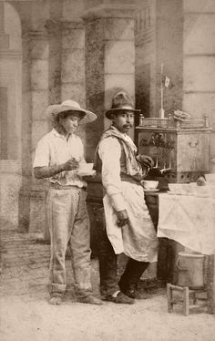 """Mexican Coffee Merchants"". From a scarce CDV album of mexican occupationals made by the studio ""Cruces y Campa"" in the 1860s. (Vendedor de café) The album contains 40 views of occupations, vendors and marketeers, a portrait of a woman (maybe the owner) and a view of the ""three Naoleons"". So maybe this album had been brought from Mexico by one of the soldiers of the emperor Maximilian."