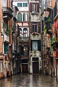 Rain soaked Venice, Italy