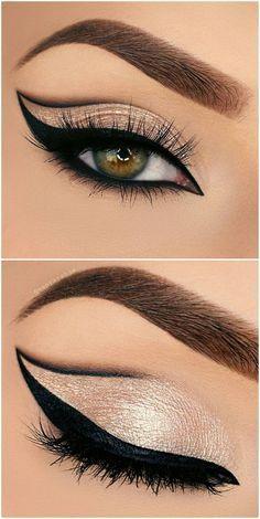 bold grapic cat eye outline / half cut crease in black + gold glitter | makeup @vanyxvanja