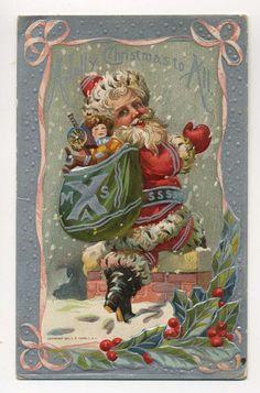 A Jolly Christmas Christmas Postcards, Christmas Books, Christmas And New Year, Christmas Ideas, Christmas Decorations, Vintage Santa Claus, Vintage Santas, Victorian Christmas, Vintage Christmas