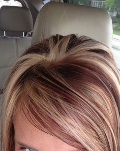 Hair color- highlights with brown red low lights  Small Town Curl Salon