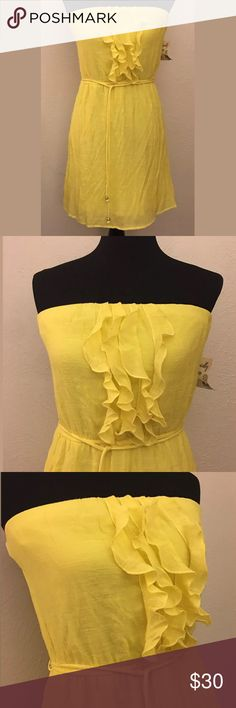 ACCIDENTALY IN LOVE Yellow Ruffled Dress Large ACCIDENTALY IN LOVE  Bright Yellow Ruffled Strapless Dress  - Size Large Dresses Strapless