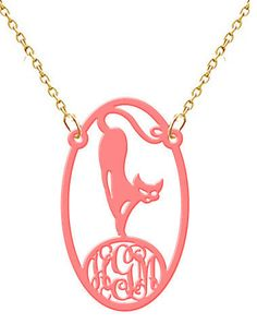Monogram Necklace Cat Hand Made Custom Blue by angelunder20, $26.99