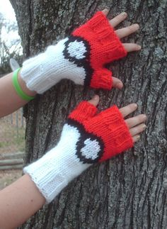 Free knitting pattern for Pokemon Pokeball Mitts - Donna Milner's easy fingerless mitts are perfect for Pokemon Go play.