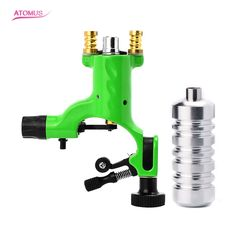 Hot Sale!1*Pcs Green Dragonfly Tattoo Motor Rotary Machine Shader Liner Gun with A Silver Aluminum Alloy Tattoo Grip for Tattoo  #Affiliate