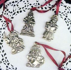 4 Gorham Silverplate Christmas Ornaments 2 Santas and 2 Carolers Holiday